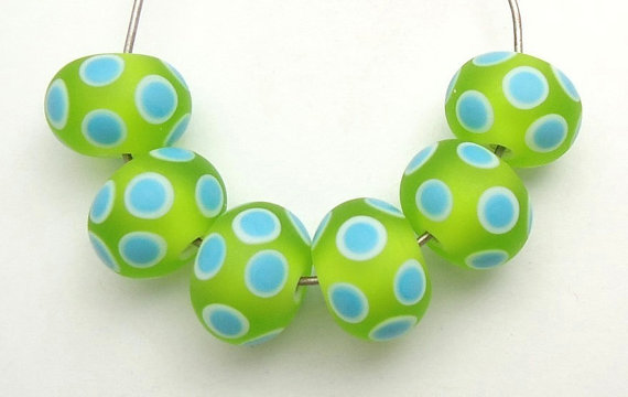 New Year's Sale Only 15 Dollars Lime & Turquoise Dots Set of Artisan Handmade Lampwork Glass Beads SRA by imakebeads