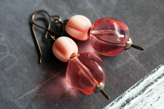 Bead Soup Jewelry – Peach Earrings – Pink Chunky Earrings – Drop Earrings – Ball Room Earrings by BeadSoupJewelry