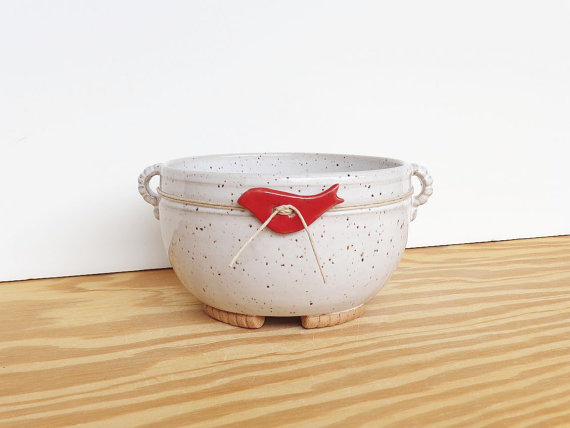 Stoneware Planter Pot in Glossy White Glaze – Speckled – Red Bird Decoration by dorothydomingo