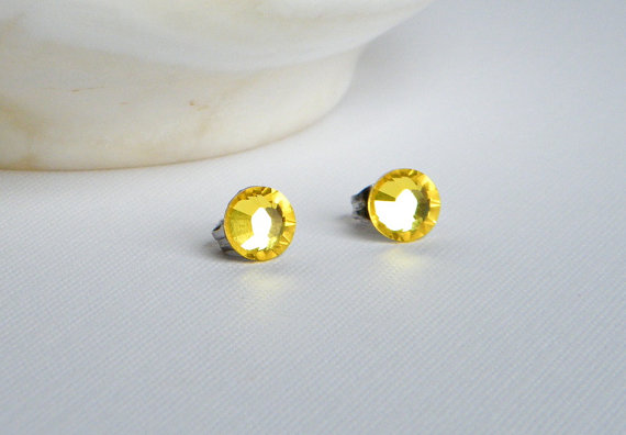 Yellow Swarovski Stud Earrings, Rhinestone Earrings, Yellow Post Earrings, Bridesmaid Earrings by BuddingCreations1
