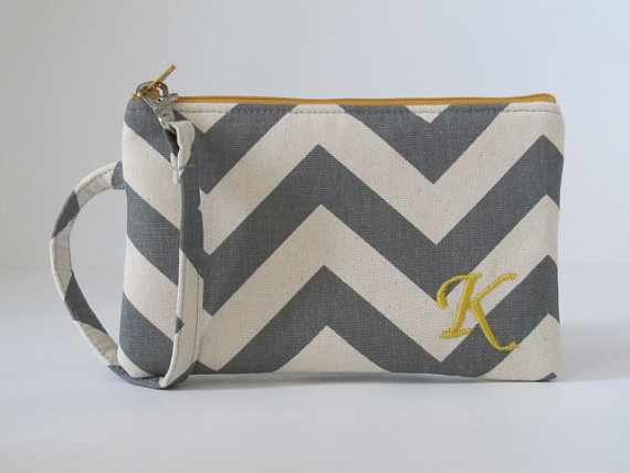 Monogram Wristlet Wallet, CUSTOM COLORS, Zipper Pouch, Personalized Holiday Gift For Her, Embroidered iPhone Pouch, Chevron, by maddiekayhandbags