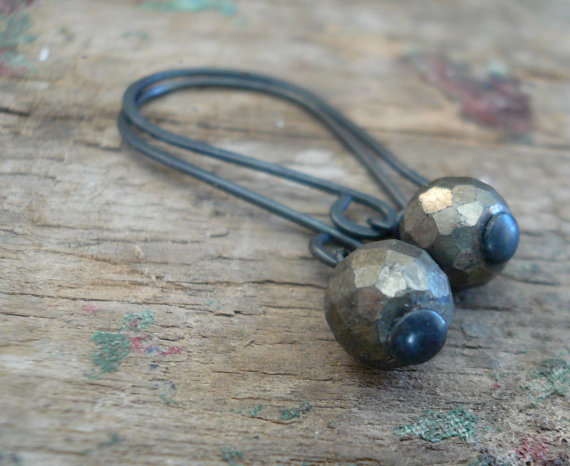 Sway Earrings. Glitter – Handmade. Hand forged. Pyrite. Sterling Silver Oxidized Earrings by jNicDesigns