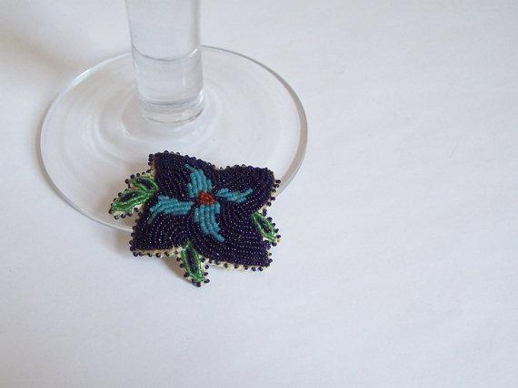 Antique Native American seed bead pin brooch Ojibwe Ojibwa Chippewa 14/0 beads on leather Free shipping to USA by MattiesMenagerie