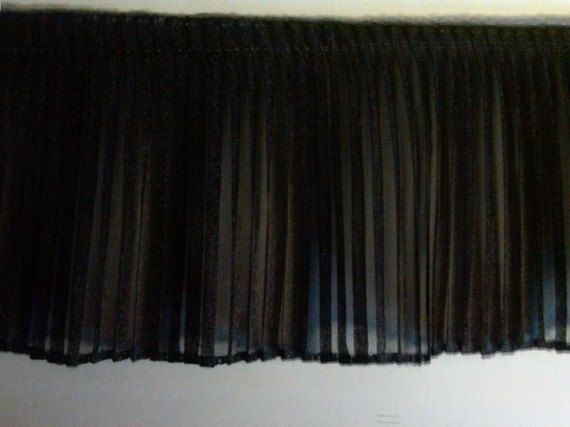 Pleated black sparkle organza fabric sewing trim for prom dress, evening couture, costumes, decor 5 yard by TrimsNmore