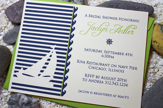 Bridal Shower Invitation, Engagement Party Invitation, Wedding Invitation – Nautical Sailboat by DotsAndDahlias
