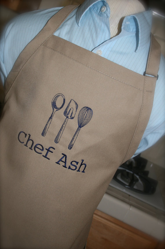 As seen on Giada at Home – Kitchen Utensils – Custom Embroidered Adult Apron– Men and Women – 2 sizes and lots of colors-Mother's Father's day by tattletaledesigns