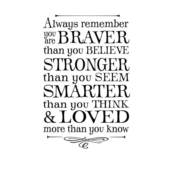 Always remember you are braver than you believe … winnie the pooh quote, lettering art, vinyl wall decal by OldBarnRescueCompany