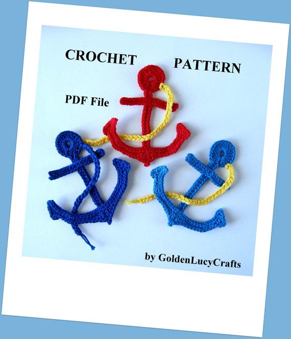 Crochet Pattern Anchor Applique, Sea Motif, PDF File by GoldenLucyCrafts
