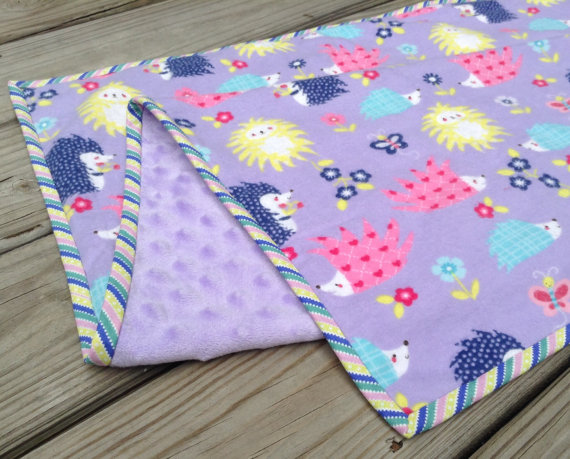 Baby Girl Blanket lavender Minky with Colorful Hedgehog Flannel Print 30 & quot; x36 & quot; by StitchedByHand