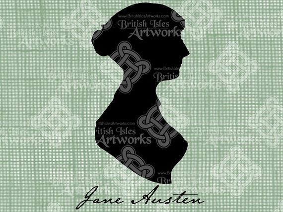 Digital Download Jane Austen Silhouette, Jane's Signature, Antique Illustration, Vintage drawing, digi stamp by britishislesartworks
