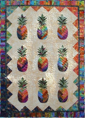 Sunshine Pineapple Quilt Pattern, Vicki Stratton, Quilting Time Patterns, Batiks, 42×62 by northcountryquilts