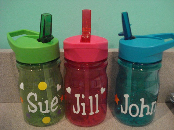 Custom Listing for Hollie Mechak Kids water bottles with straws personalized for free great for party favors by fun4petey