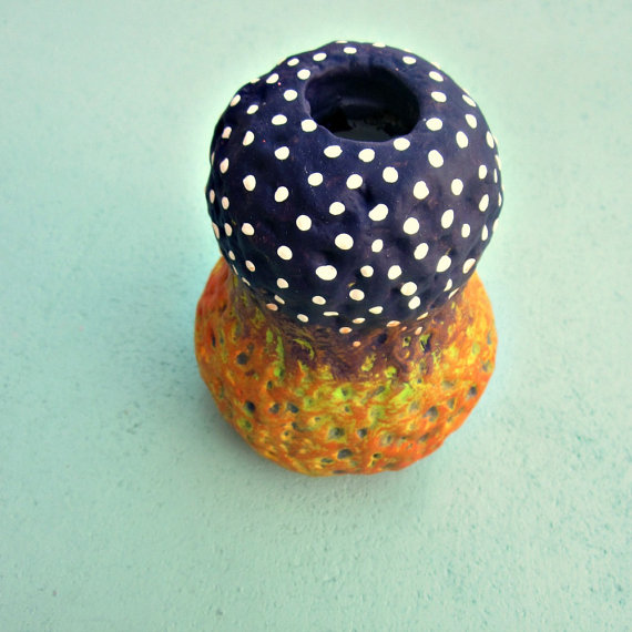 Purple Polka Dot Chartreuse and Orange Paper Mache Bud Wet Vase or Reed Diffuser Bottle: Wild Thing by studioRenee
