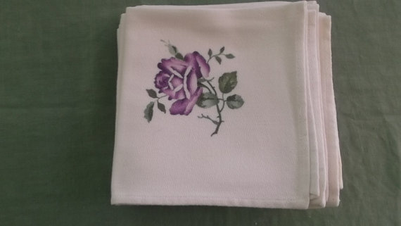 Vintage Napkins White Damask with Stamped Purple Rose Detail 11 Napkins by AnniesVintageRedone