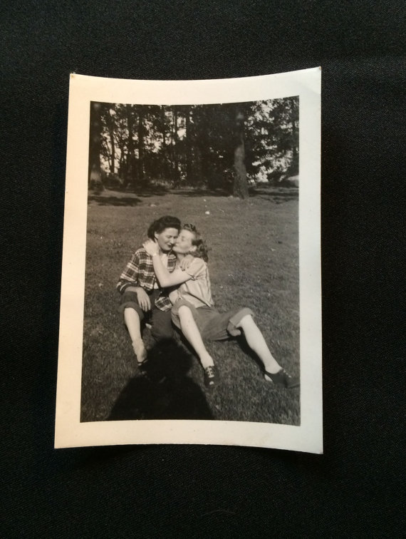 Vintage Original Old Photo – Two Girls Kissing by haoli