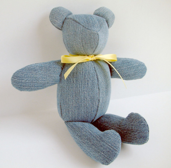 Classic Custom Recycled Blue Jean Teddy Bear Heirloom Hand Stitched by donnapool