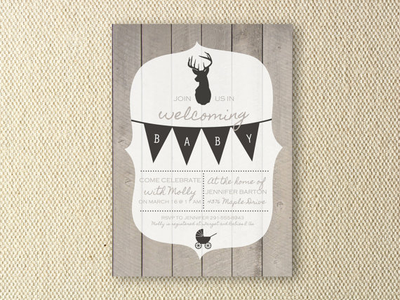Rustic, Wood Baby Shower Printable Invitation by OliveandBirch
