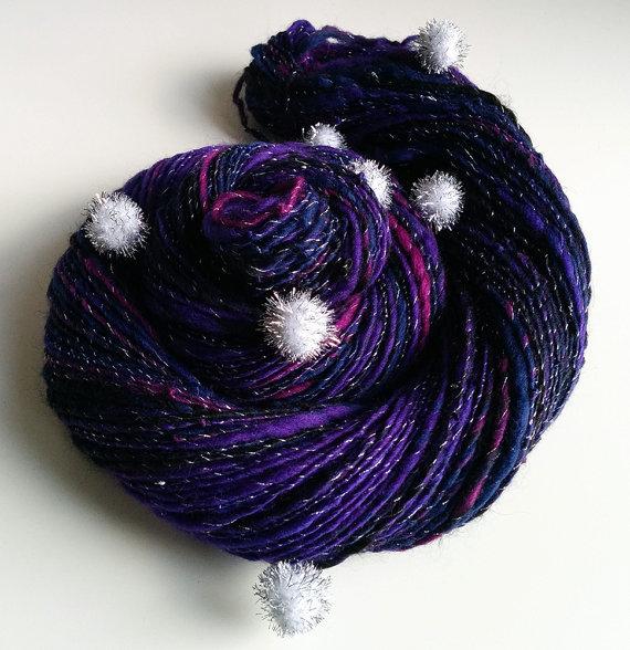 Handspun Art Yarn – STAR DUST – Dark Blue, Purple. Silver Pompoms. Space, Universe, Star Stuff. Luxury Knitting, Gift Idea. 215 yds, 2.9 oz by WeirdAndTwisted
