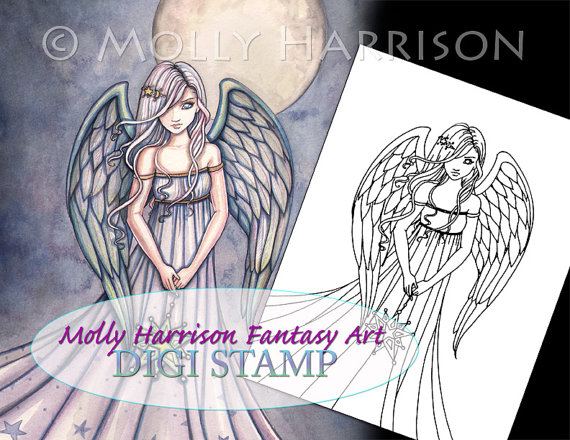 The Gift – Digital Stamp – Printable – Angel Art – Molly Harrison Fantasy Art – Digistamp Coloring Page by MollyHarrisonArt