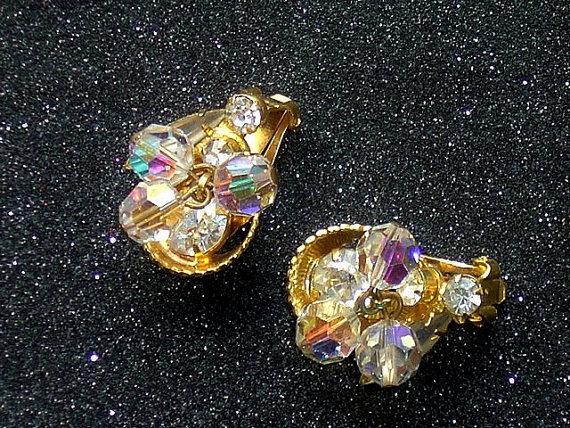 Vintage AB Crystal and Rhinestone Fancy Earrings Wedding Earrings Clip Ons by glamourama
