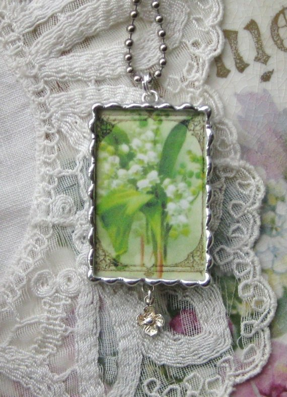 Vintage Lily of the Valley Postcard Pendant – To Thine Own Self Be True by 34Roses