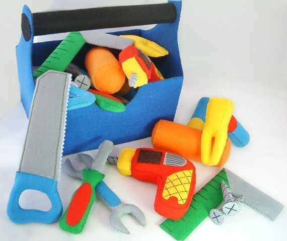 DIY Felt ToolBox (toolbox, Drill, Screwdriver, wrench, screw, Saws, Square, Hammer) -PDF Pattern via Email-T09 by fairyfox