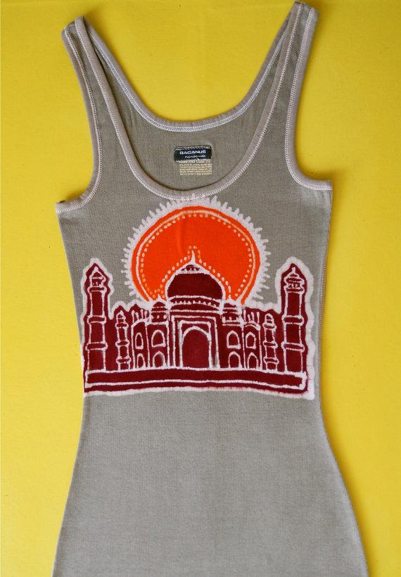 Taj Majal Batik tank top Eco friendly ribbed women brown – Yoga clothes – size XS, S, M, L, XL, XXL by BAGANUS