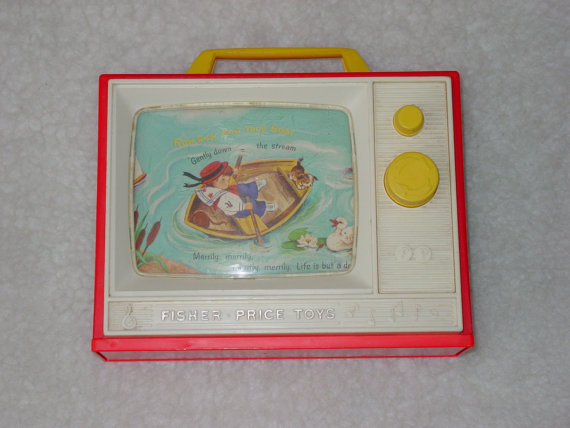 Vintage 1966 Fisher Price Musical TV with London Bridge and Row, Row, Row Your Boat by AardvarkEmporium