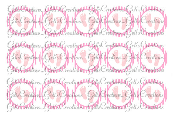 Pink baby foot prints digital image sheet for bottlecap, crafts, scrapbooking etc..No.174 by GelisCreations