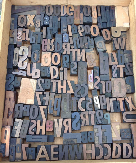 Antique Letterpress Printers Wood Type Font Mix 150 Letters and Numbers in the Purchase by SalvageNation