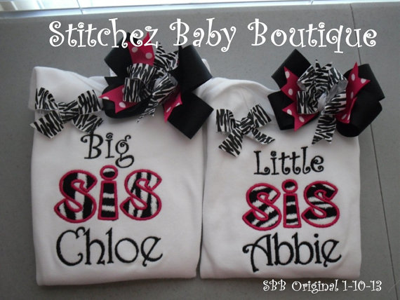 Custom Diva Zebra Big Sister Little Sister SET with 2 M2M hairbows by stitchinmamma
