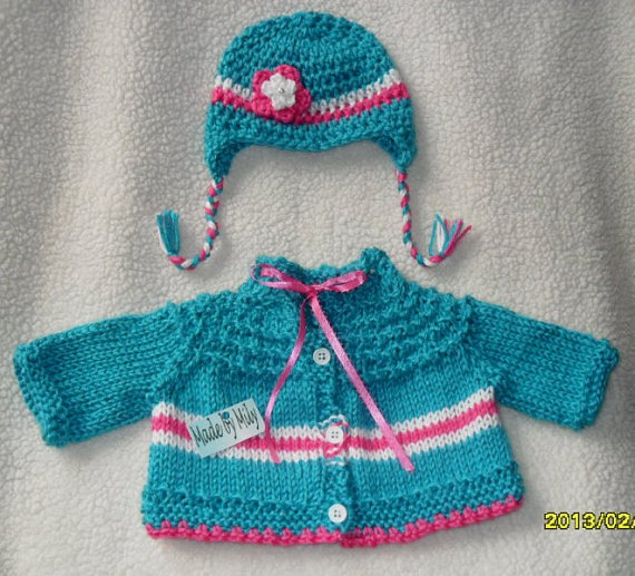 Hand knitted boutique style Baby girl lovely sweater with matching earflap hat. So CUTE by MadebyMily
