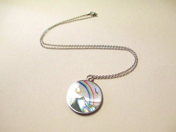 Vintage Mother of Pearl Rainbow Necklace DEADSTOCK by SHOPHULLABALOO