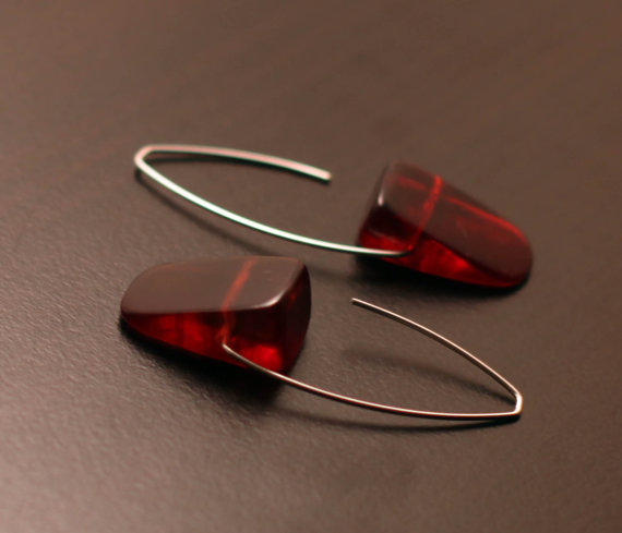 Burgundy Resin Wedges on Silver by kristapeel