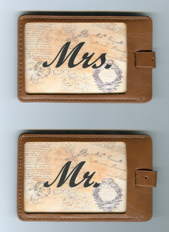 Set of 2 GORGEOUS LEATHER Luggage Tags for Him and for Her by FunnyLuggageTags