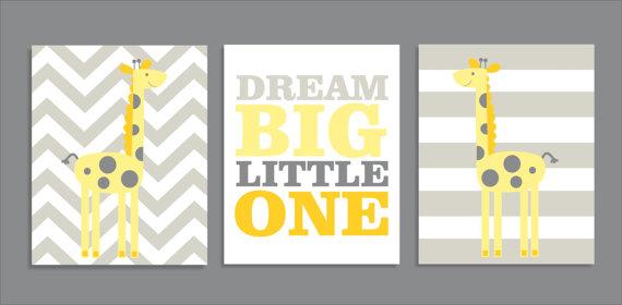 Giraffe Dream, Giraffe Decor, Nursery Art Prints, Nursery Decor, Yellow- Set of three prints by FieldandFlower