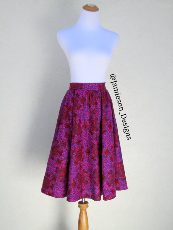 Berry Flare Skirt, 1950s style, Vintage Style, Midi Skirt, long skirt by jamiesondesigns