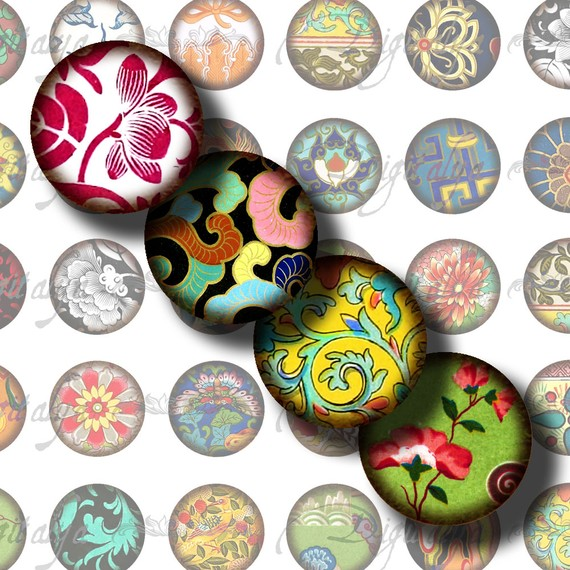 Asian Ornament (9) Digital Collage Sheet with Aged Flourishes from Asia for magnet – 48 Circles 1inch – 25mm or any smaller size by digitalya