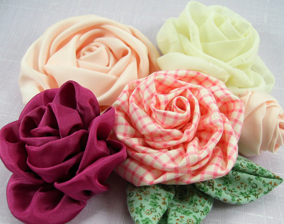 Roses on the Bias Fabric Flower PDF Tutorial by SundayGirlDesigns