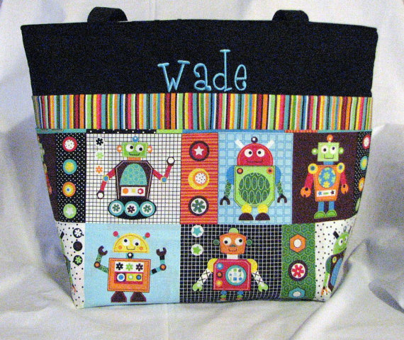 Personalized Diaper Bag .Tote. Weekender / XL size. Silly Robots. monogrammed FREE. boy diaper bag by DoodlescootDesigns