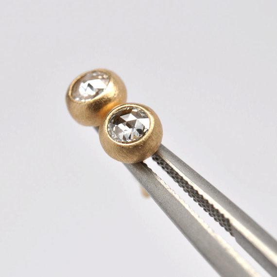 Rose cut diamond earrings- 18k gold by Onestonenewyork