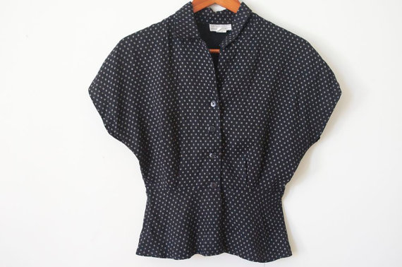 BLACK 40's STYLE BLOUSE in Black and White Checkered / Polka Dot Bat Wing / Angel Wing Top For Spring 2013 by rockthisvintage