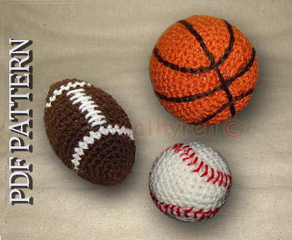 Toy Football, Basketball, and Baseball – INSTANT DOWNLOAD Crochet Pattern by CathyrenDesigns