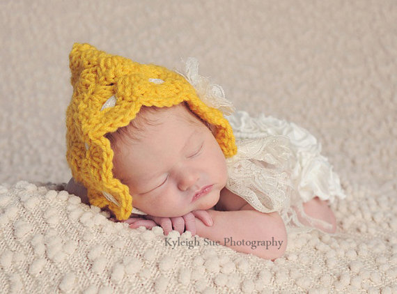 NEWBORN Girl Bonnet Hat, Baby Girl Hat, Baby Girl Vintage Pixie Bonnet, Sunflower Yellow with Cream Lace and Flower. Newborn Photo Props. by ChunkyMonkeyBeanies