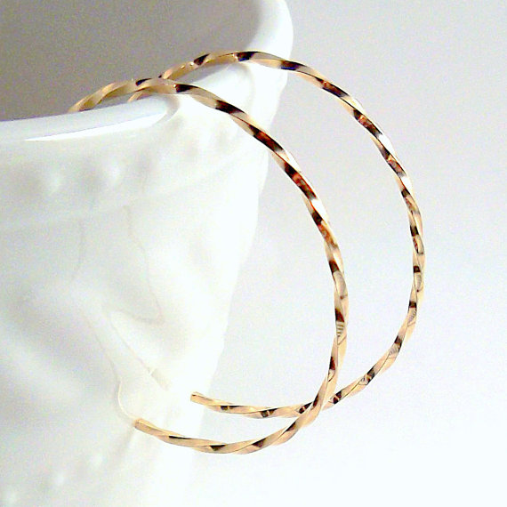 Small Gold Hoop Earrings, Twisted Gold Reverse Hoops by ElunaJewelry