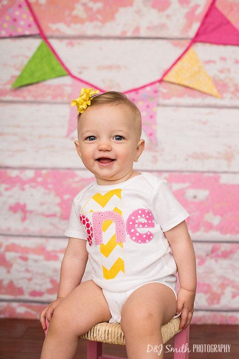 First Birthday Shirt Chevron Girls ONE 1st Shirt One or Onesie aqua pink gift photo prop modern by PatchesandPuppies