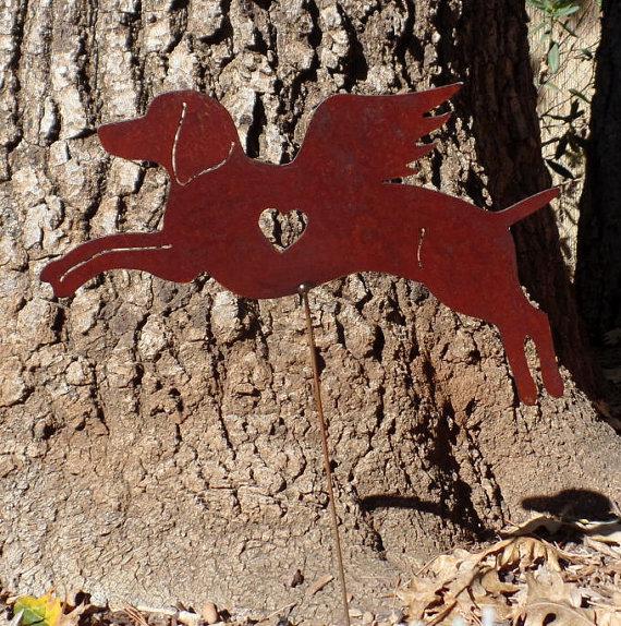 Rusty Finish Weimaraner Dog Angel Memorial Garden Art Yard Stake by MountainIron