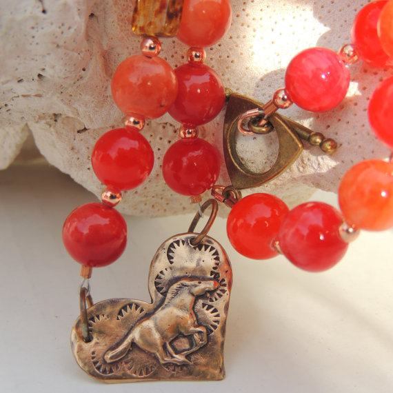 WILD AT HEART Handmade Mustang Horse and Copper Necklace Set by JudyTacynDesigns