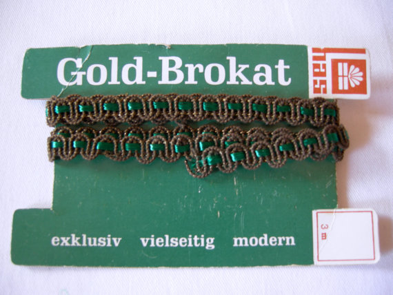 German Vintage Gold, and Green Brocade Trim – Restpiece sewing supply for Medieval or Rustic Costume Clothing by linenlaceandthread