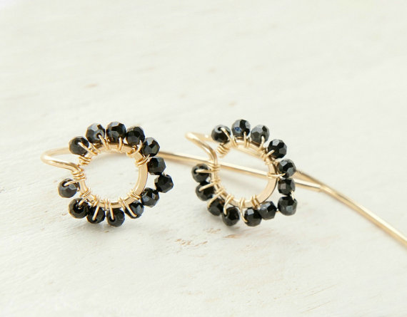 Black Spinel Earrings, Lotus Zen Circle Jewelry, Minimal Gold Long Ear Wires by Yukojewelry